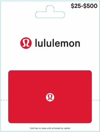 Lululemon $25-$500 Gift Card - After Pickup, visit us online to activate and add value Perspective: front