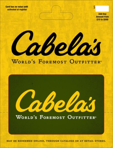 Cabela's $15-$500 Gift Card - After Pickup, visit us online to activate and add value Perspective: front