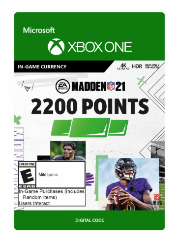 Xbox One Madden 21 2200 Point In Game Currency Gift Card Perspective: front