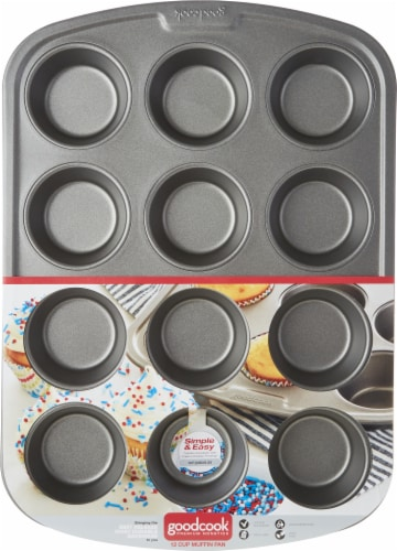 GoodCook® Premium Nonstick 12-Cup Muffin Pan Perspective: front