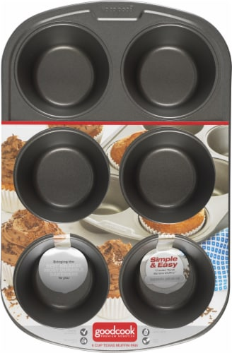 GoodCook® Nonstick 6-Cup Texas Muffin Pan Perspective: front
