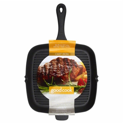 GoodCook® Cast Iron Grill Pan - Black Perspective: front