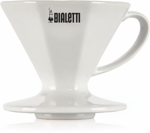 Bialetti Ceramic Pour-Over Coffee Maker - White Perspective: front