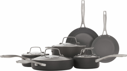 Bialetti Ceramic Pro Nonstick Cookware Set 10 Piece - Gray Perspective: front