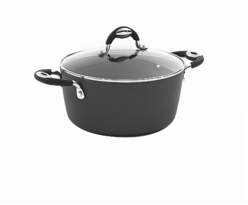 Bialetti Impact Nonstick Dutch Oven with Glass Lid - Black Perspective: front