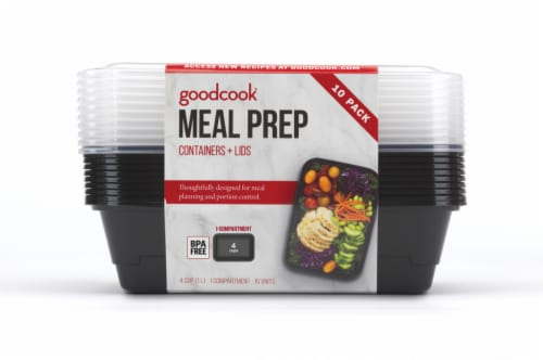 GoodCook® Meal Prep Food Storage Containers - 10 Pack - Black/Clear Perspective: front