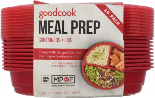 GoodCook® Meal Prep Food Storage Containers - Red Perspective: front