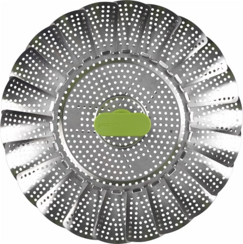 GoodCook® Touch Steamer Basket - Chrome/Green Perspective: front