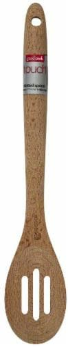 GoodCook® Touch Beech Wood Slotted Spoon - Natural Perspective: front