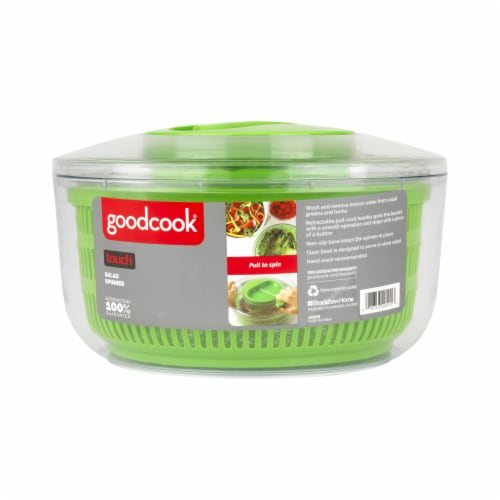 GoodCook® Touch Salad Spinner - Green/Clear Perspective: front
