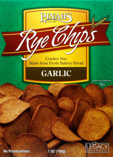 Pinahs Garlic Rye Chips Perspective: front
