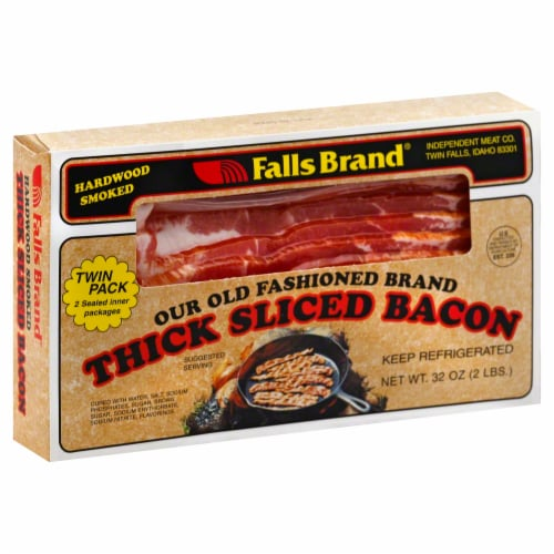 Falls Brand Hardwood Smoked Thick Sliced Bacon Perspective: front
