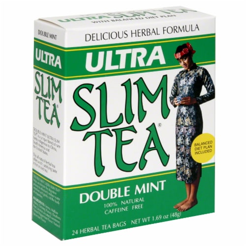 Ultra Slim Tea Double Mint Herbal Tea Bags Perspective: front