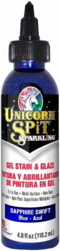 Unicorn Spit Sparkling Wood Stain & Glaze 4oz-Sapphire Swift Perspective: front