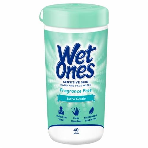 Wet Ones Sensitive Skin Extra Gentle Wipes 40 Count Perspective: front