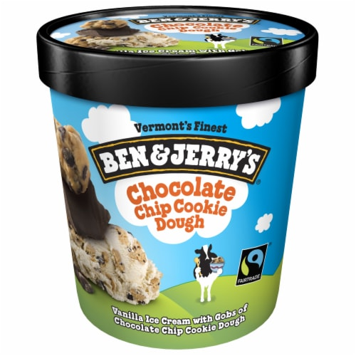 Ben & Jerry's Chocolate Chip Cookie Dough Ice Cream Perspective: front