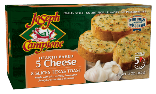 Joseph Campione Hearth Baked 5 Cheese Texas Toast Slices 8 Count Perspective: front
