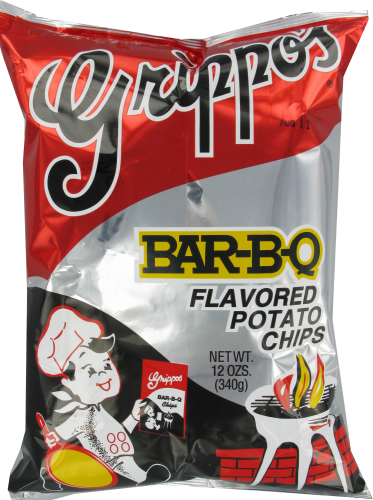 Grippos Bar-B-Q Flavored Potato Chips Perspective: front