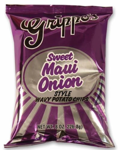Grippo's Sweet Maui Onion Style Wavy Potato Chips Perspective: front