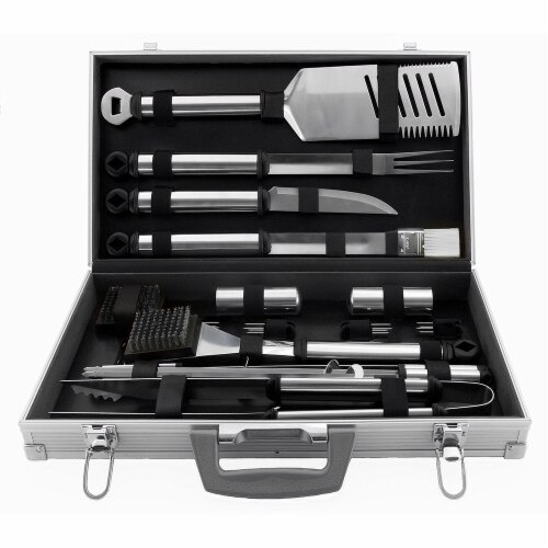 Mr. Bar-B-Q Prestige Tool Set with Case - Silver Perspective: front