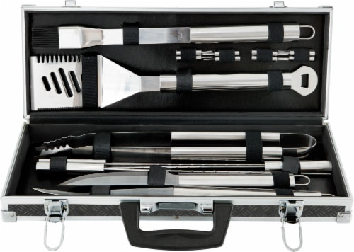 Mr. Bar-B-Q Stainless Steel Tool Set with Aluminum Case Perspective: front