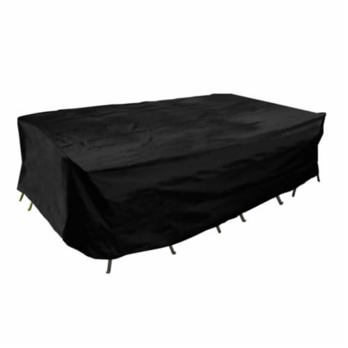 Backyard Basics Eco-Cover Medium Patio Dining Set Cover - Black Perspective: front