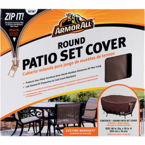Armor All® Round Patio Set Cover - Brown Perspective: front