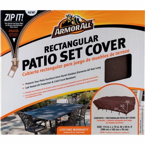 Armor All® Rectangle Patio Set Cover - Brown Perspective: front