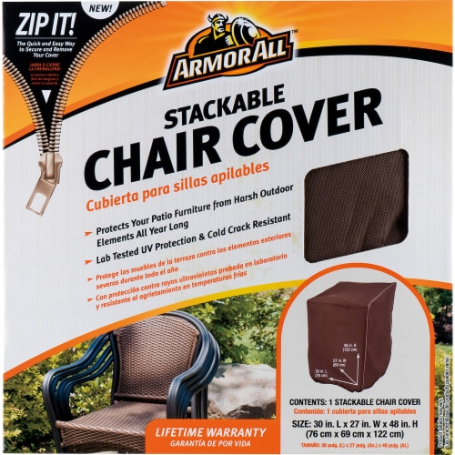 Armor All® Stackable Chair Cover - Brown Perspective: front