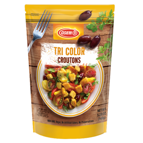 Osem Tri Color Mediterranean Croutons Perspective: front