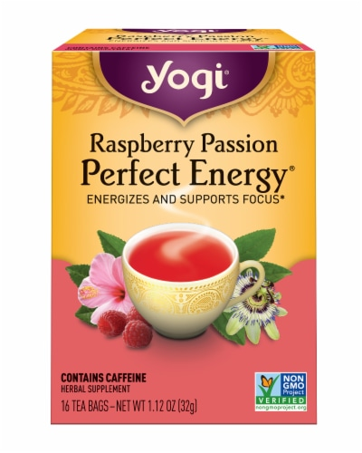 Yogi Perfect Energy Raspberry Passion Tea Bags Perspective: front