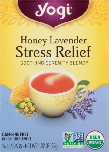 Yogi Honey Lavender Stress Relief Tea Bags Perspective: front