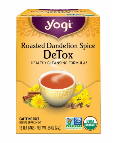 Yogi Roasted Dandelion Spice Caffeine Free Detox Tea Bags Perspective: front