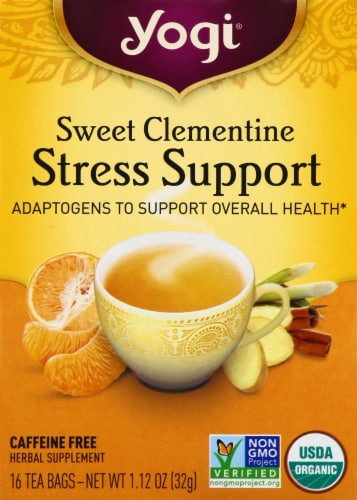Yogi Sweet Clementine Stress Support Caffeine Free Tea Bags Perspective: front