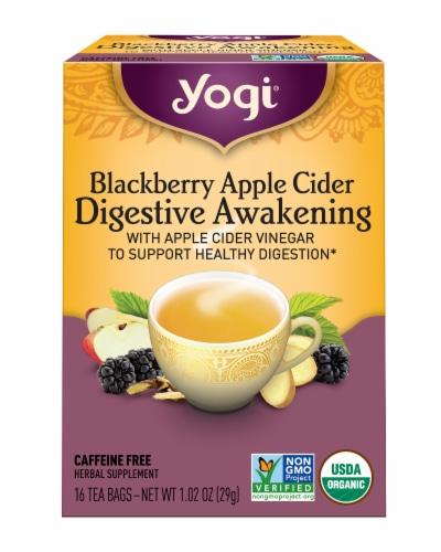 Yogi Blackberry Apple Cider Digestive Awakening Tea Bags Perspective: front