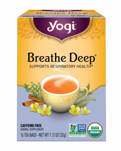 Yogi Breathe Deep Caffeine Free Tea Bags Perspective: front