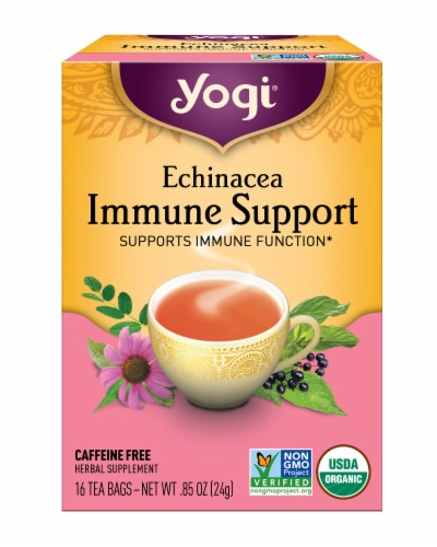 Yogi Echinacea Immune Support Caffeine Free Tea Bags Perspective: front