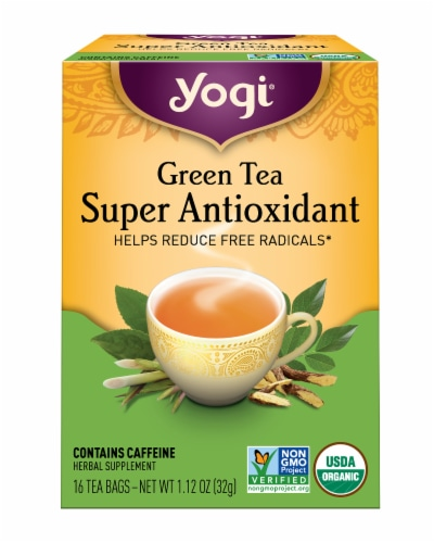 Yogi Super Antioxidant Caffeine Free Green Tea Bags Perspective: front
