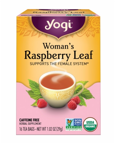 Yogi Woman's Raspberry Leaf Caffeine Free Tea Bags Perspective: front