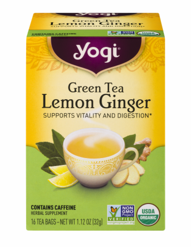 Yogi Lemon Ginger Green Tea Perspective: front