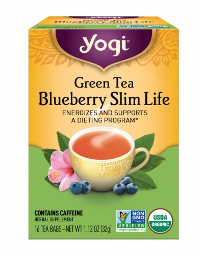 Yogi Blueberry Slim Life Green Tea Bags Perspective: front