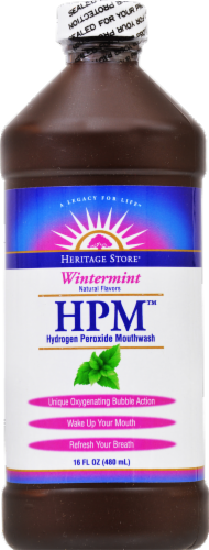 Heritage HPM Hydrogen Peroxide Mouthwash Wintermint Perspective: front