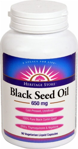 Heritage Store Black Seed Oil Liquid Capsules 650 mg Perspective: front