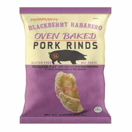 Southern Recipe Oven Baked Blackberry Habanero Pork Rinds Perspective: front