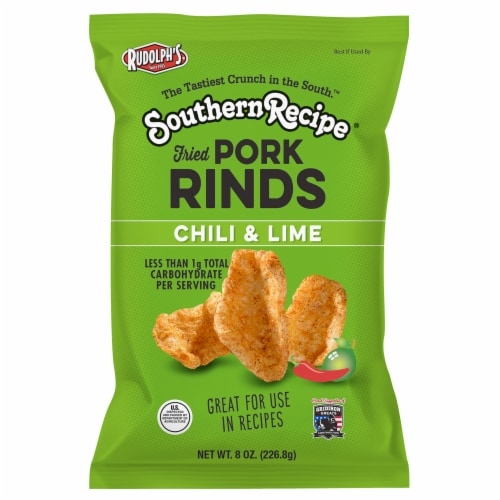 Rudolph Foods Souther Recipe Chile Limon Pork Rinds Perspective: front