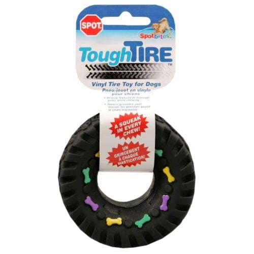 Spot Squeaky Vinyl Tire Dog Toy Perspective: front