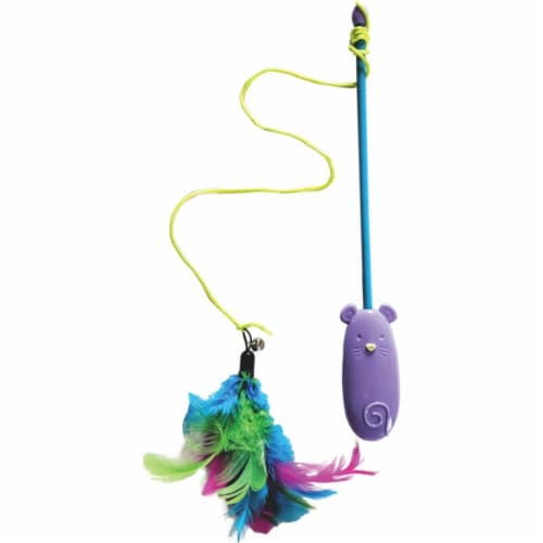 Ethical 52119 Laser & Feather Teaser Wand Cat Toy - Assorted Color Perspective: front