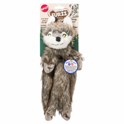 Spot Furzz Wolf Plush Dog Toy Perspective: front