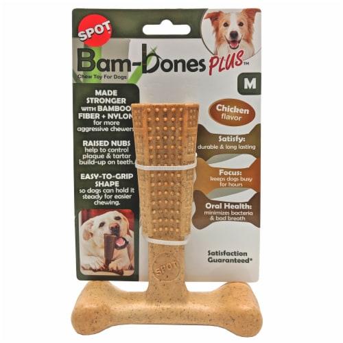Spot Bam-Bones Plus Medium Chicken Flavor Dog Chew Toy Perspective: front
