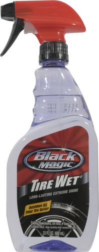 Black Magic Tire Wet Tire Spray Perspective: front